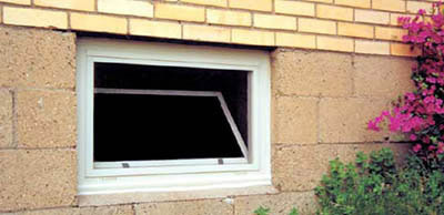 hopper window outside